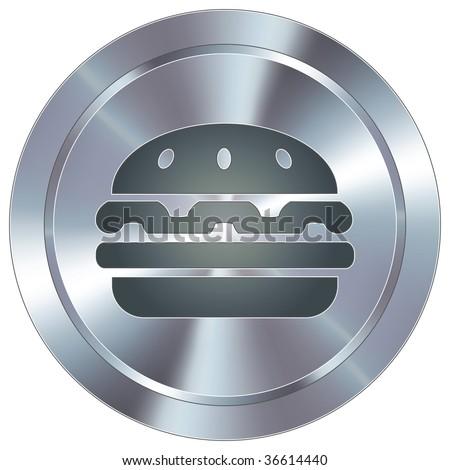 Hamburger icon on round stainless steel modern industrial button - stock vector