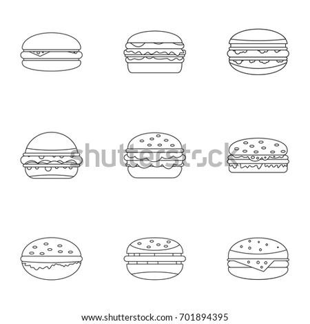 Hamburger icon set. Outline set of 9 hamburger vector icons for web isolated on white background