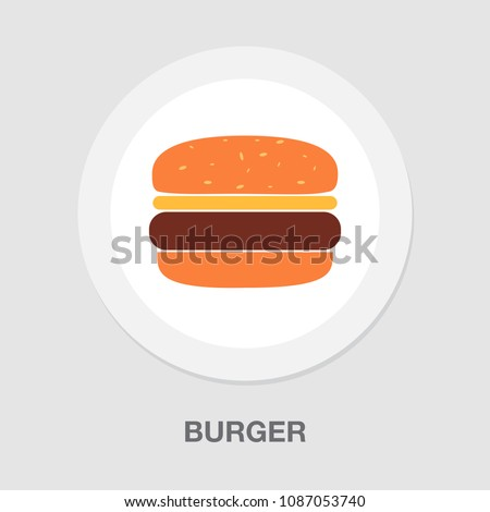 Hamburger icon - vector fast food sign symbol, vector food meal - burger sandwich