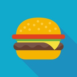 hamburger icon with long shadow. flat style vector illustration
