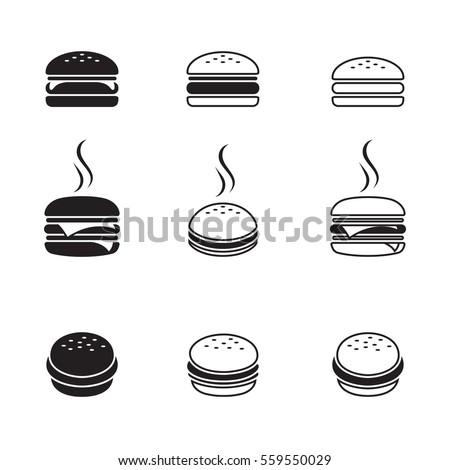 Hamburger icons set. Black on a white background