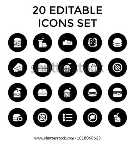 Hamburger icons. set of 20 editable filled hamburger icons such as burger, sandwich, burger with sausage, cheeseburger. best quality hamburger elements in trendy style.