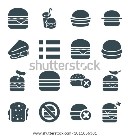 Hamburger icons. set of 16 editable filled hamburger icons such as no fast food, burger, sandwich, double burger with flag, burger with pepper
