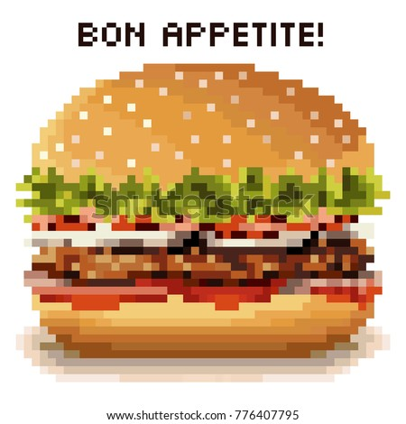 Hamburger in the style of pixel art with the words - Bon appetite!