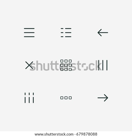 hamburger menu thin line icons set