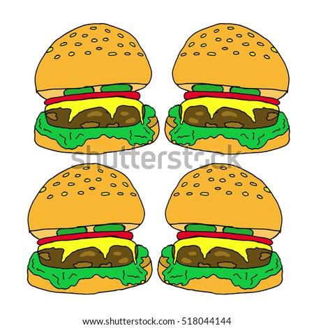 Hamburger on a white background.Hamburger vector illustration. For design, wallpaper, logo, icon, menu, restaurant, cafe, kitchen, birthday, holiday.Hamburger meal.Hamburger isolated.Hamburger icon.