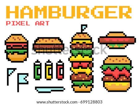 Hamburger Pixel Art Vector Download Free Vectors Clipart