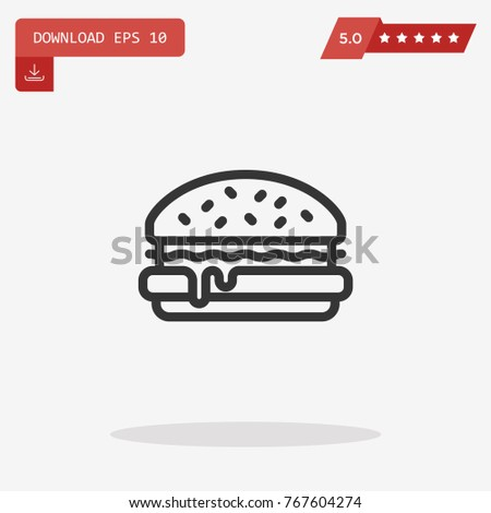 Hamburger vector icon. Emblem isolated on white background. Modern simple icon style for graphic and web design, logo. EPS10