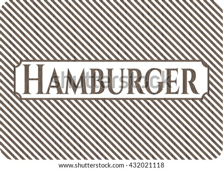 Hamburger vintage wooden emblem