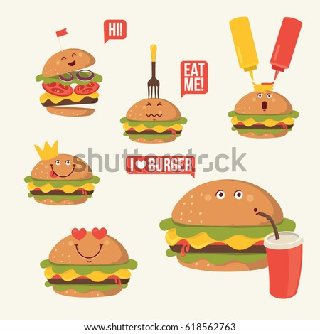 Hamburger with cheese, salad, tomatoes. Funny fast food icons set. Vector illustration for restaurant menu design, card, sticker,avatar. Burger cartoon comic character. Food emoticon.