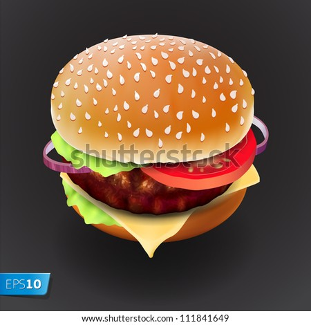 Hamburger with meat, lettuce, cheese and tomato. Vector Eps10 illustration.