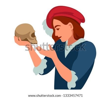 hamlet with a skull in his hands says the famous monologue