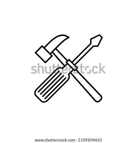hammer and screwdriver outline icon. Element of construction icon for mobile concept and web apps. Thin line hammer and screwdriver outline icon can be used for web and mobile on white background