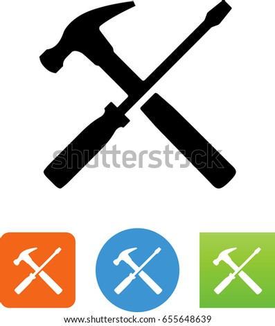 Hammer and screwdriver tools icon