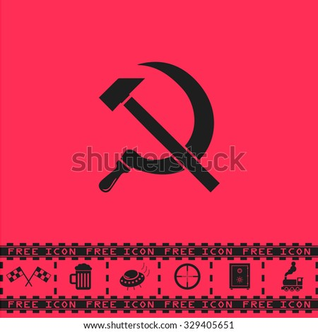 hammer and sickle black flat