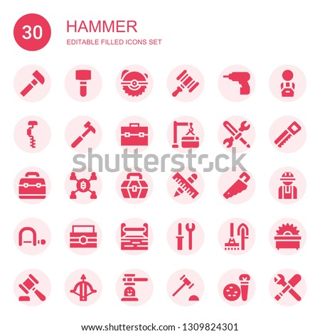 hammer icon set. Collection of 30 filled hammer icons included Hammer, Mallet, Saw, Driller, Drill, Toolbox, Maintenance, Tools, Mining, Handsaw, Hacksaw, Worker, Crossbow, game