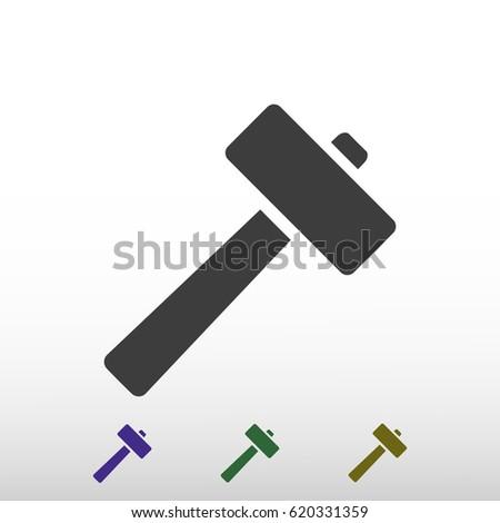 hammer icon, stock vector illustration flat design style