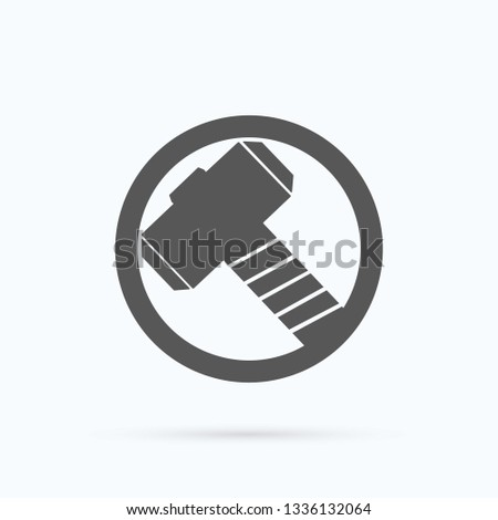 Hammer logo. Tor superhero icon. Marvel studio. Vector illustration. EPS 10
