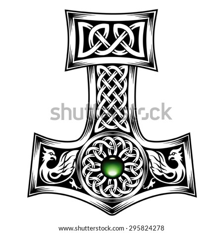 hammer of thor medieval viking symbol stock vector