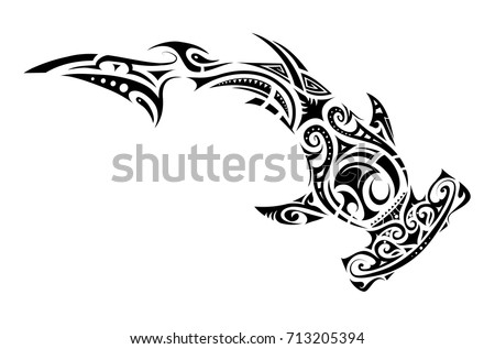 hammer shark tattoo in maori