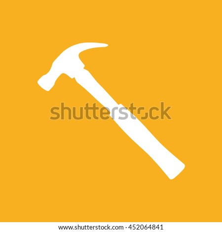 Hammer vector icon illustration. Yellow background