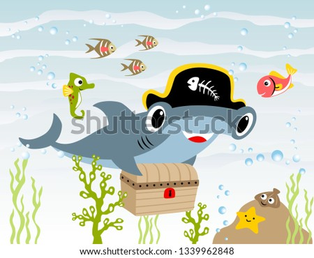 A shark and a starfish under the water - Download Free