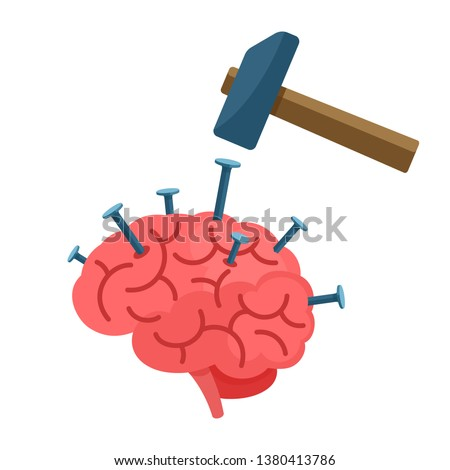 Hammering nails into human brain. Headache concept. Put stereotypes into head. Pattern of thinking. Vector illustration, flat cartoon style. Isolated on white background.