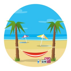 Hammock and beach illustration. Vector image of photos/cards from the trip/ voyage/ travelling/ adventure/ vocation for any purposes. Suitable for mobile and web applications.