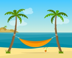 Hammock with palm trees on beach. Cocktail near the hammock. Tropical background with sea. Flat style vector illustration.