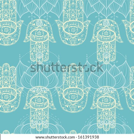 hamsa hand and lotus flowers