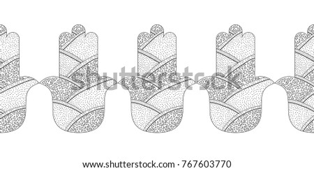 Hamsa Hand Black And White Illustration For Coloring Page Decorative Amulet Good Luck