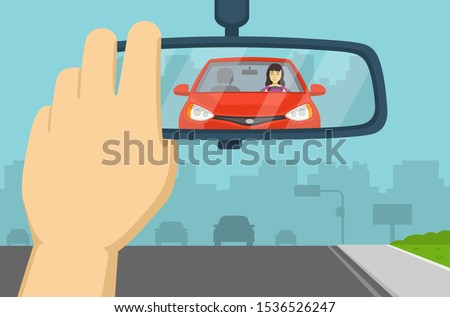 Hand adjusting rear view mirror in a car. Flat vector illustration. ストックフォト ©