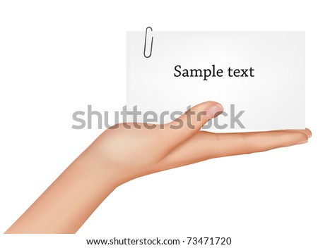 Hand and a card. Vector illustration