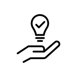 Hand and a lamp icon, Propose brilliant idea, Suggest, offer, present new idea,solution, plan vector icon in line art style on white background