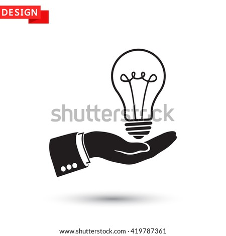 hand and bulb icon vector eps