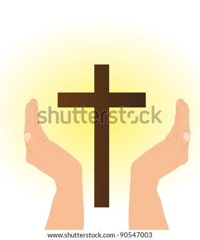 hand and cross with yellow light. vector illustration