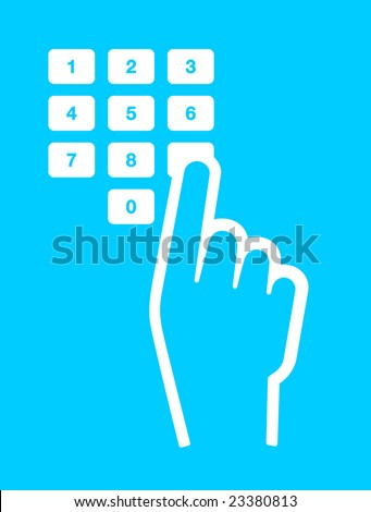 hand and finger pushing button on a keypad
