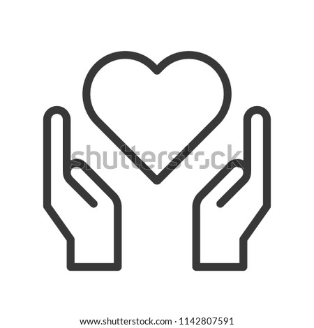 hand and heart, simple outline icon
