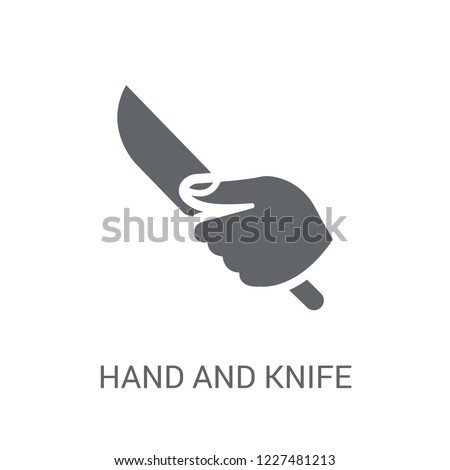 Hand and Knife icon. Trendy Hand and Knife logo concept on white background from Hands collection. Suitable for use on web apps, mobile apps and print media.
