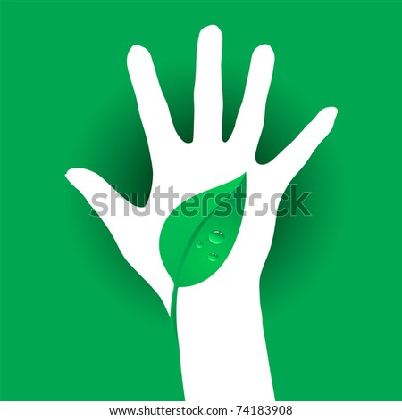 Hand and Leaf silhouette. Illustration on green background.