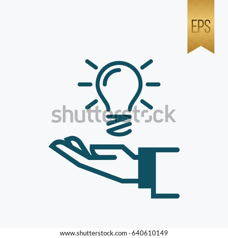 Hand and Light Icon. Flat Vector Idea Symbol