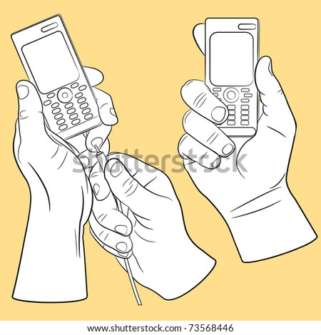 Hand and mobile phone set(vector, CMYK) - stock vector