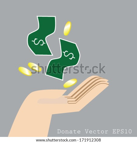 Hand and money, donate vector, spending money USD dollar sign icon.