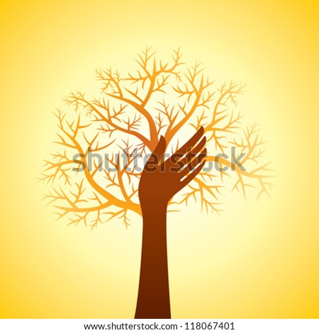 hand and tree