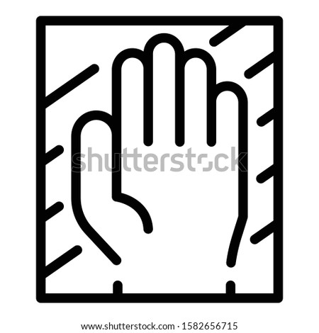 Hand authentication icon. Outline hand authentication vector icon for web design isolated on white background