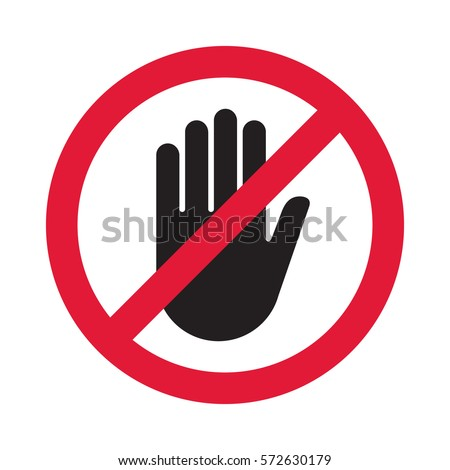 Hand blocking sign stop. Vector illustration.
