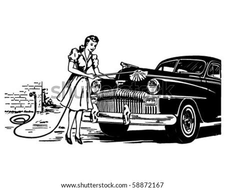 Hand Car Wash - Retro Clip Art