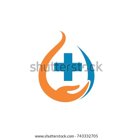 stock-vector-hand-care-and-cross-medical-logo