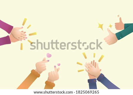 Hand clap thumb up finger heart by peoples for praise and encouragement with vector illustration graphic EPS10 Сток-фото ©