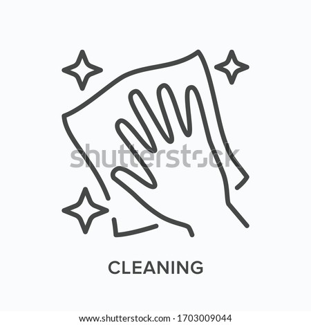 Hand cleaning icon. Vector outline illustration of wipe polish handling. Dust free zone pictogram.